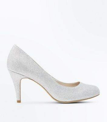 New Look Wide Fit Silver Glitter Wedding Court Shoes