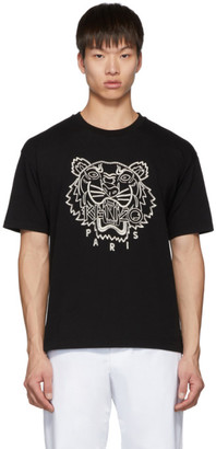 Kenzo Black Blanket Stitch Tiger T-Shirt