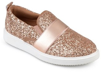 Brinley Co. Women's Glitter Ribbon Slip-on Sneakers
