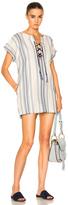Lemlem Halima Lace Up Tunic in White,Blue,Stripes.