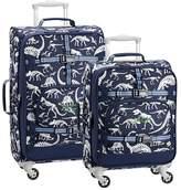 Pottery Barn Kids Mackenzie Blue Gray Dino Glow-in-the-dark Spinner Luggage Bundle, Set Of 2