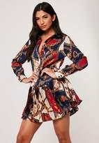 Missguided Navy Chain Print Satin Pleated Hem Shirt Dress