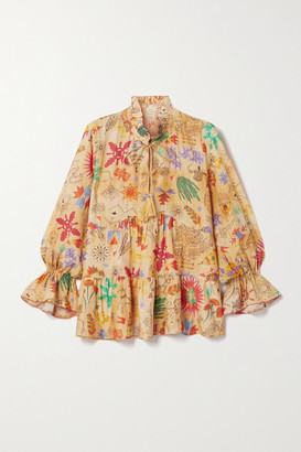 CHUFY Saqui Tiered Ruffled Printed Cotton And Silk-blend Blouse - Beige