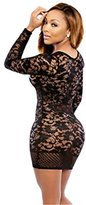 ULAKY Women Sexy Hollow Out Lace Deep V Lace Bodycon Party Long Sleeve Mini Dress Clubwear