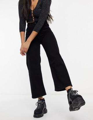 Monki Mozik organic cotton wide leg cropped jeans in vintage black