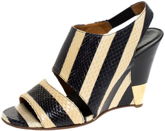 Chloé Cream/Black Striped Python Leather Ayers Wedge Slingback Sandals Size 37.5
