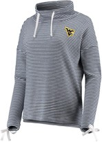 Unbranded Women's White/Navy West Virginia Mountaineers Sunday Funday Funnel Neck Knit Tri-Blend Pullover Sweatshirt