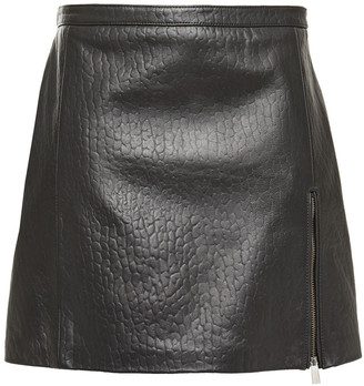 Muu Baa Muubaa Zip-detailed Croc-effect Leather Mini Skirt