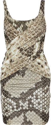 Roberto Cavalli Ruched Snake-print Stretch-crepe And Satin-jersey Mini Dress