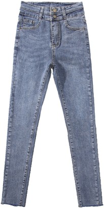 Goodnight Macaroon 'Michelle' Double Button High Waisted Cropped Skinny Jeans (2 Colors)
