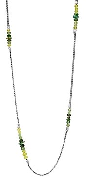 John Hardy Sterling Silver Classic Chain Mini Chain Station Necklace with Green Apatite, Green Tourmaline & Chrome Diopside, 36