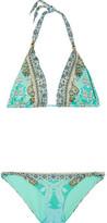 Camilla El Duende Embellished Printed Triangle Bikini - Turquoise