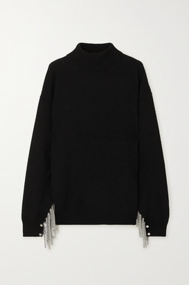 Christopher Kane Chain-embellished Wool, Silk And Cashmere-blend Turtleneck Sweater - Black