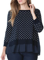 Chaps Plus Polka-Dot Layered Sweater