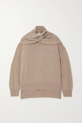 LOULOU STUDIO Spando Tie-detailed Melange Cashmere Sweater - Beige