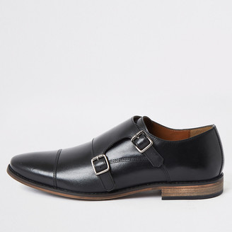 River Island Black leather monk strap derby shoes