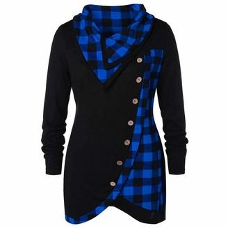 Toamen Women's Tops T-Shirt Blouse Jumper Pullover Long Sleeve Cowl Neck Plaid Print Drawstring Skew Button Irregular Loose Tunic Shirt Sweater (Blue 12)