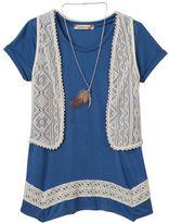 Speechless Girls 7-16 & Plus Size 4-point Tee, Crochet Vest & Necklace Set