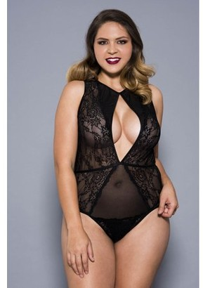 Music Legs Plus size front keyhole opening lace teddy with sheer back 80052Q-BLACK