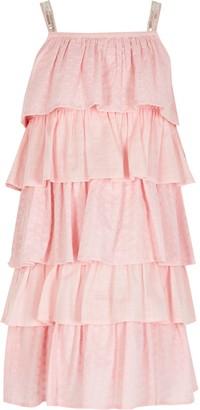 River Island Girls Pink broderie rara dress