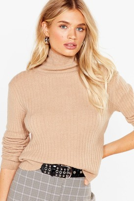 Nasty Gal Womens Knit Was Worth Knit Ribbed High Neck Jumper - Black - One Size, Black