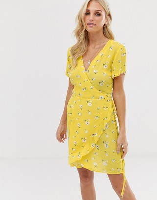 Stradivarius wrapped short dress in yellow
