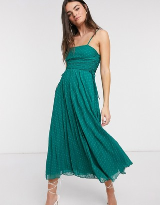 ASOS DESIGN pleated jacquard mesh midi dress with drawstring details in forest green