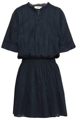 Vanessa Bruno Athe' Crochet-trimmed Pintucked Cotton Mini Dress