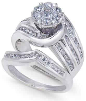 Macy's Diamond Swirl Cluster Bridal Set (2 ct. t.w.) in 14k White Gold