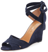 Aquazzura Tarzan Suede Ankle-Wrap Wedge Sandal, Navy