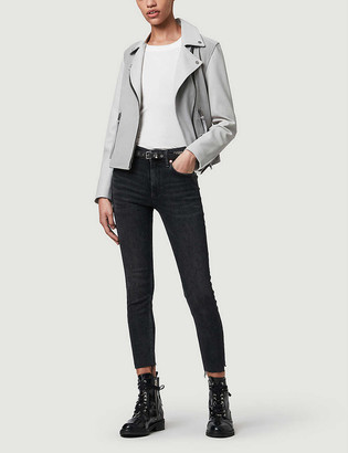 AllSaints Dalby Mix leather and suede biker jacket