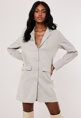 Missguided Grey Faux Suede Blazer Dress