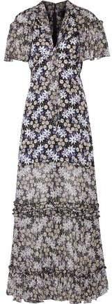 Anna Sui Oops A Daisy Ruffled Metallic-Trimmed Silk-Blend Maxi Dress