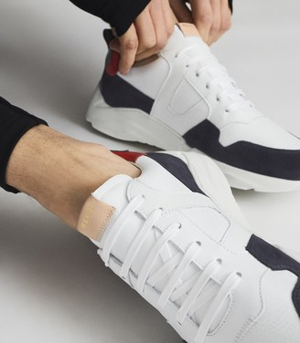 Reiss Shelton - Leather Trainers in White/Navy