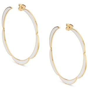 Kate Spade Gold-Tone Large Enamel Scalloped-Edge Hoop Earrings, 2.6""
