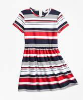 Brooks Brothers Short-Sleeve Cotton Multi-Stripe Dress