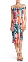 ECI Floral Print Off the Shoulder Scuba Midi Sheath Dress