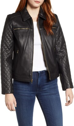 Cole Haan Quilted Lambskin Leather Jacket