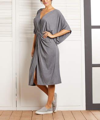 Simple By Suzanne Betro Simple by Suzanne Betro Women's Casual Dresses 101CHARCOAL - Charcoal Twist Front Kimono Midi Dress - Women & Plus