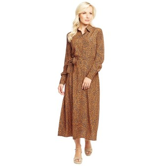 Onfire Womens AOP Flower Long Sleeve Midi Dress Brown/Blue