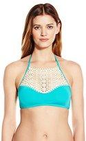 Kenneth Cole Reaction Women's Ruffle Shuffle High-Neck Crochet Bandeau Bikini Top