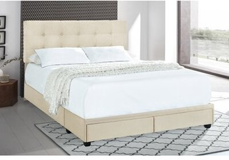 Winston Porter Sohail Tufted Upholstered Low Profile Storage Platform Bed Color: Linen, Size: King