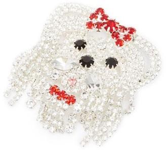 Art School Dog Crystal-embellished Brooch - Red