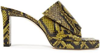Wandler Isa Snake-effect Leather Platform Mules