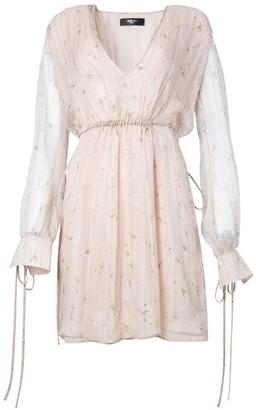 Amiri Neutral Floral Plunge Silk Dress