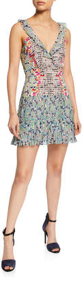Saloni Amy Sleeveless Silk Short Dress, Multi