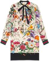 Gucci Floral Snake print silk dress