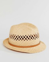 Catarzi Straw Trilby With Leather Band
