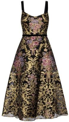Marchesa Notte Floral brocade gown