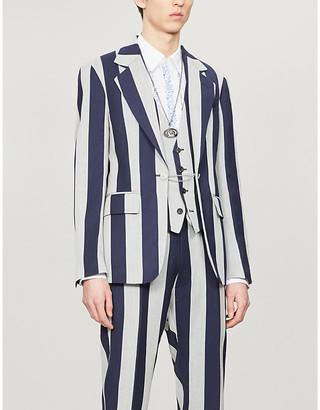 Vivienne Westwood Striped padded-shoulder wool and linen-blend blazer
